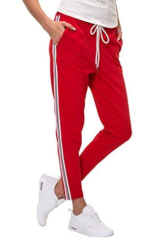 Hachiro Damen Freizeithose Jogginghose Hose Sportswear Style (M, Red/Style 2)