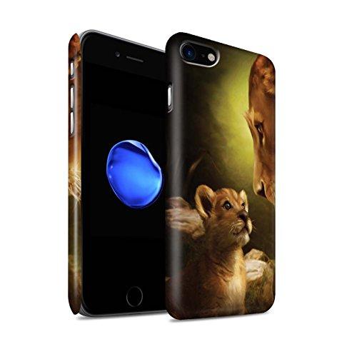 Officiel Elena Dudina Coque / Clipser Matte Etui pour Apple iPhone 7 / Jacinthe Design / Les Animaux Collection Oui Maman/Lion/Petit
