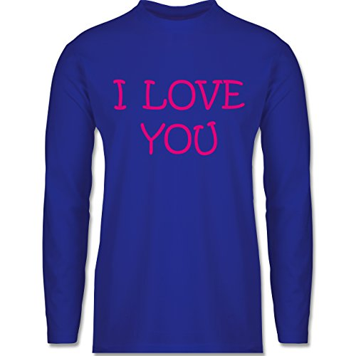 Shirtracer Valentinstag - I Love You - Herren Langarmshirt Royalblau