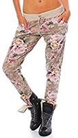 MODA ITALY DAMEN FREIZEITHOSE HAREMSHOSE TRENDY FLOWER ALL-OVER PRINT RELAX BAUMWOLLE DAMENHOSE DÜNNE SWEATPANTS JOGGER SOFT