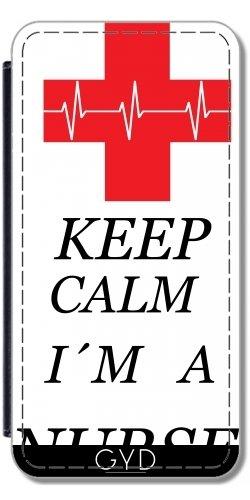 Leder Flip Case Tasche Hülle für Apple iPhone 6/6S - Krankenschwester Gesund Arzt by WonderfulDreamPicture Lederoptik