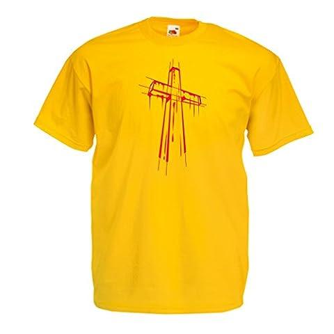 T-shirt pour hommes Croix affligée - Cadeaux religieux. Habillement chrétien