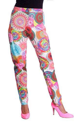 Wilbers 4334 Damenkostüm Hose Damen Multi Hippe 70er Jahre 70s Kostüm Damen Karneval Fasching (70er Jahre Hose Für Damen)