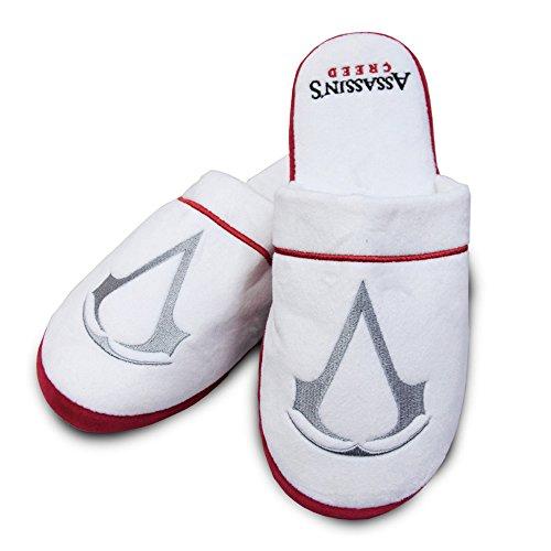 Preisvergleich Produktbild Groovy Erwachsene Assassins Creed weiß Bademantel Bademantel ODER Hausschuhe - Herren,  Pantoffeln - Weiß,  38-40