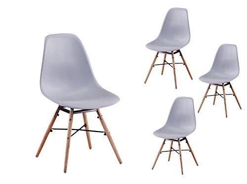 Usinestreet Lot de 4 Chaises scandinaves LUNA Coque plastique et pieds bois - Couleur - Gris