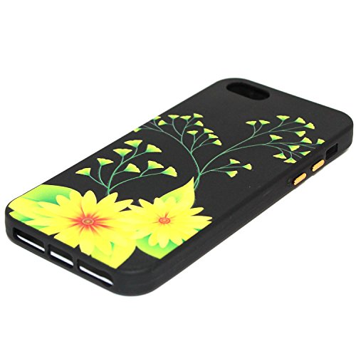 Custodia iPhone 5S, iPhone SE Cover Silicone, SainCat Cover per iPhone 5/5S/SE Custodia Silicone Morbido, Creative Design Custodia Cover Flower Ultra Slim Silicone Case Ultra Sottile Morbida TPU Cover Ginkgo