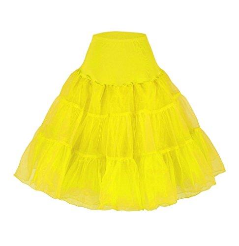 Da donna 50s vintage Rockabilly Petticoat, 66cm, lunghezza net Underskirt Yellow