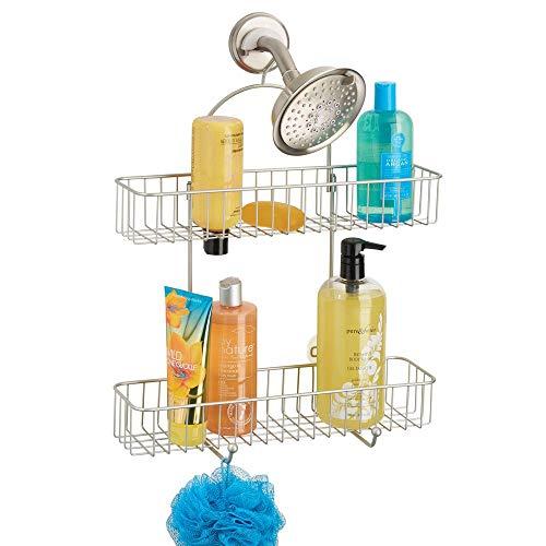 mDesign étagère de Douche sans perçage - Panier de Douche à Suspendre - serviteur de Douche en métal pour savons, shampooing, etc. - avec 2 Crochets et 2 paniers - argenté Mat