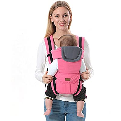 ThreeH Baby Carrier Backpack Cotton & Polyester 3 Carry Positions for Newborns BC08,Pink