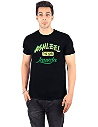 Enquotism Black Combed Cotton Fabric Round Neck Men Tshirt Ashleel Hai Yeh Launda Black