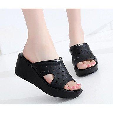 Fschooly Femmes Chaussures Printemps Automne Confort Wedge Talon Sandales Pour Casual Blanc Noir Noir