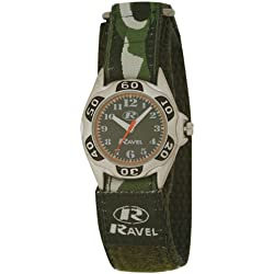 Ravel Children's Green Camouflage Strap Watch