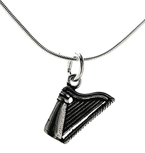 Kiss of Leather Anhänger Harfe aus 925 Sterling Silber mit Silberkette 1 mm (61)