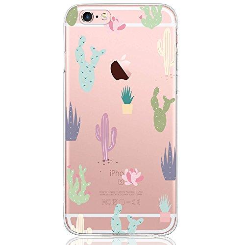 iPhone 6 / 6S Hülle, DAPP® Dolce Vita Serie Transparente Silikon Handyhülle für Damen / Mädchen, Durchsichtig mit Bunt Kaktus Blumen Muster