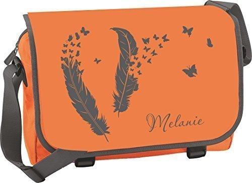 Borsa a tracolla Zainetto Borsa di studente borsa a tracolla Scuola Studenti - Piume con Farfalla - Arancione/Grafite Arancione/Grafite
