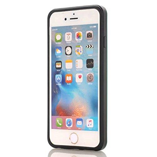 Coque Apple iPhone 6 Plus / Apple iPhone 6s Plus, Forhouse Double Couche Coque Doux Svelte TPU Heavy Duty PC 2 in 1 Portefeuille Coque Sliding[Fente pour Carte]Antidérapant Antichoc Protection de Hous Menthe Verte
