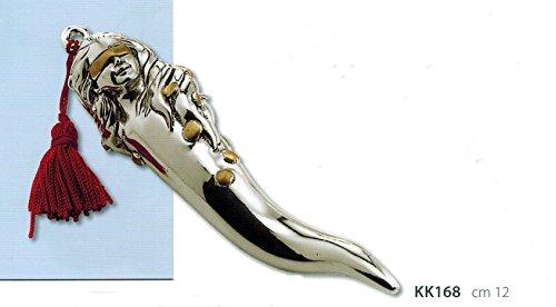 Kikke corno dea portafortuna argento cm12 con nappina e inserti dorati laminato argento made in italy