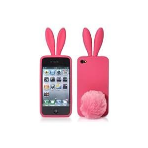 Housse / Etui Silicone OREILLE DE LAPIN ROSE + Pompon pour Apple iPhone 4/4S