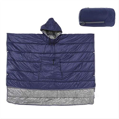 XIAOXIONG Outdoor Tragbare Nülltasche Schlafsack Winter Plus Quilt Warm Camping Reise Schlaftasche Wasserdicht Kapuzenmantel Blau