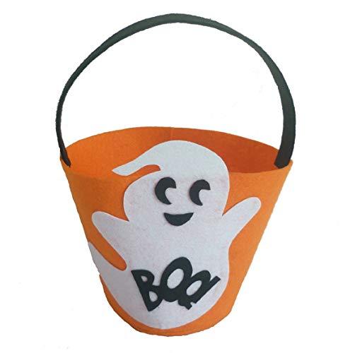 Moonuy Süßigkeits-Speicher-Halloween-nichtgewebte Süßes sonst gibt's Saures Plastiktaschen Geist Kürbis süßer Beutel Beute Kinderschokolade für Süßigkeitssnack (B)