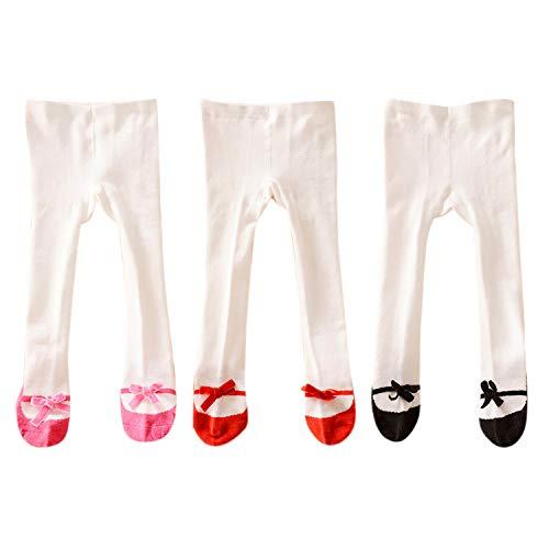 De feuilles Baby Mädchen Strumpfhose Weiß Socken Mädchen Elastische Baumwolle Strumpfhosen Pantyhose Strümpfe Schleife Leggings 3er Pack