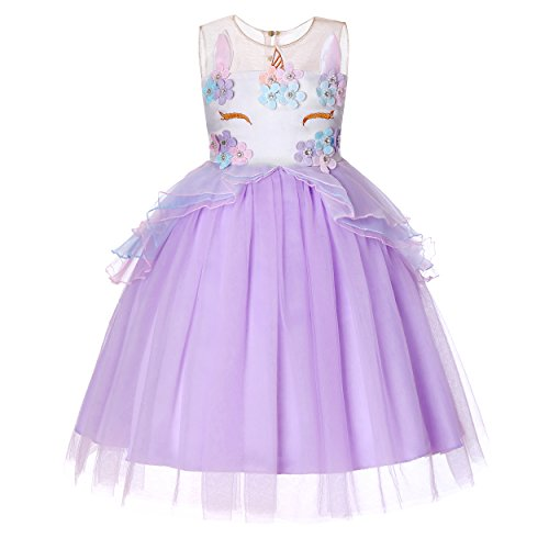 (Dance Fairy Molliya Einhorn Tutu Kleid Mädchen Prinzessin Kleid Mädchen für Cosplay Festlich Kleid Geburtstag Partykleid Ballkleid,Violett,100CM/39.3Inch/2-3 Jahre)