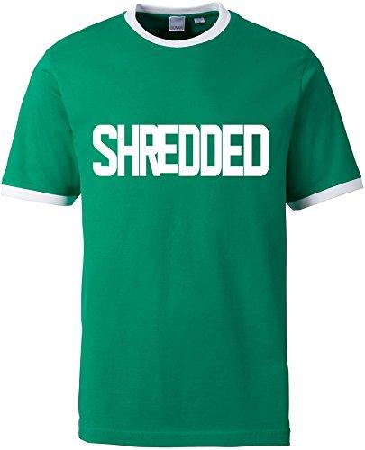 EZYshirt® Shredded Herren Rundhals Ringer T-Shirt Grün/Weiss/Weiss