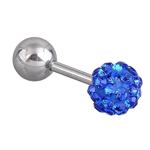 JSDDE Acier chirurgical Dames Hommes tragus bouchons d'oreille Helix Cartilage Piercing Rook Daith, avec le tchèque balle de strass (Bleu, Strass