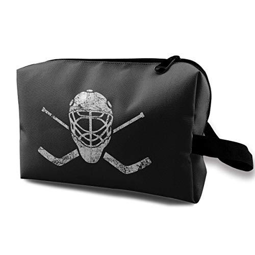 Lacrosse Helmet Crossed Sticks Travel Storage Bag Makeup Cosmetic Bag Pouch (Lacrosse Schmuck)