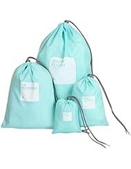 Rameng 4Pcs Nylon Imperméable Cordon Sac de rangement Pochette Organisateur pour Voyage
