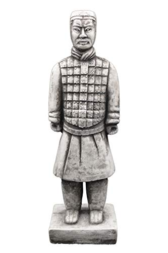 gartendekoparadies.de Massive Steinfiguren chinesischer Terrakotta Krieger aus Steinguss frostfest (Motiv V)