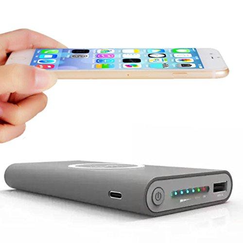 Hunpta Tragbare externe USB-Energien-Bank 8000mAh u. Drahtloses Ladegerät 2 in 1 für Iphone X (Grau) Universal-charge-bar