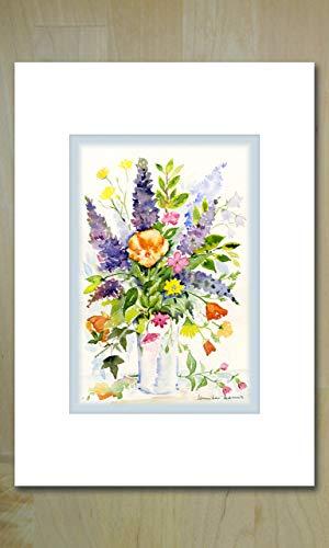 'Fleurs d'été' (Sommerblumen) Kunstgrußkarte für jede Gelegenheit - Sommer Dennis