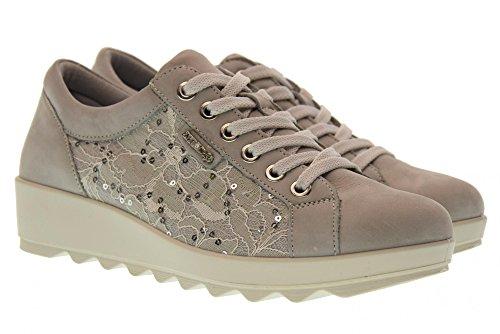 ENVAL SOFT 12668 Perla Scarpa Donna Sneaker Pelle e Pizzo Made in Italy Bianco