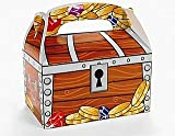 12 Treasure Chest Printed Card Treat or Party Food Boxes