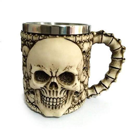 DORMFDU Becher Kreative Mark Cup Edelstahl Harz Geist Kopf Schädel Tasse 3D Tasse Geschenk Tasse Weihnachten Halloween Muster Geschenk, großes Gesicht Schädel Tasse