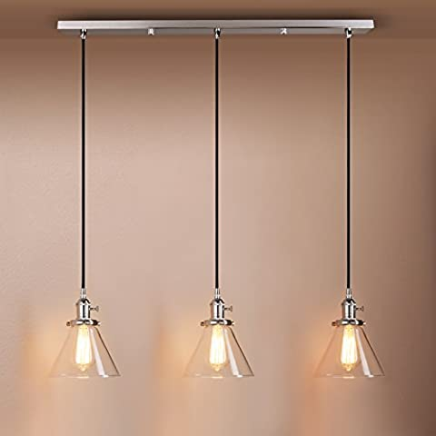 Pathson Industrial Modern Vintage Loft Kitchen Bar 3 Lights Fittings Ceiling Lights Chandelier Cone Clear Glass Light Shade Hanging Pendant Light Lamp Fixture for Living Room Dining Room Bedroom Office