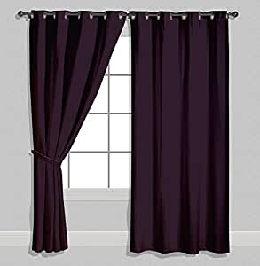 American-Elm Both Sided Solid Purple Satin Curtains- Two Panels (V.Long Door- 4x10 Feet)