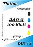 A3 - 100 Blatt Fotopapier Photopapier DIN - A 3 - 240g/qm - glossy glaenzend - sofort trocken - wasserfest - hochweiß - sehr hohe Farbbrillianz fuer InkJet Drucker Tintenstrahldrucker