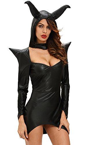 Honeystore Damen Fashion Halloween Hexe Sexy Kostüme Cosplay Allerheiligen Kleider Schwarz LC8980 (Kostüm Schwarze Katze Kinder Selbstgemacht)