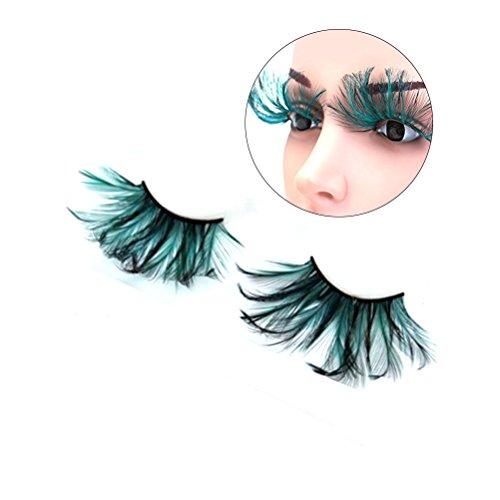 Frcolor Schwarze grüne Feder Falsche Wimpern Augen Peitschen für Party Tanz Halloween Kostüm