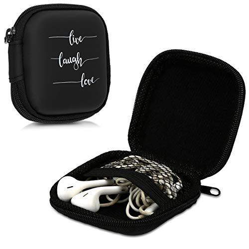 kwmobile In-Ear Kopfhörer Tasche - In Ear Headphones Schutztasche - Earphones Etui Case Cover Hülle für Kopfhörer in Weiß Schwarz