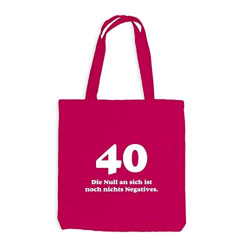 Jutebeutel - Geburtstag 40 Jahre - Die Null ist nichts negatives - Fun Geschenk Birthday Pink