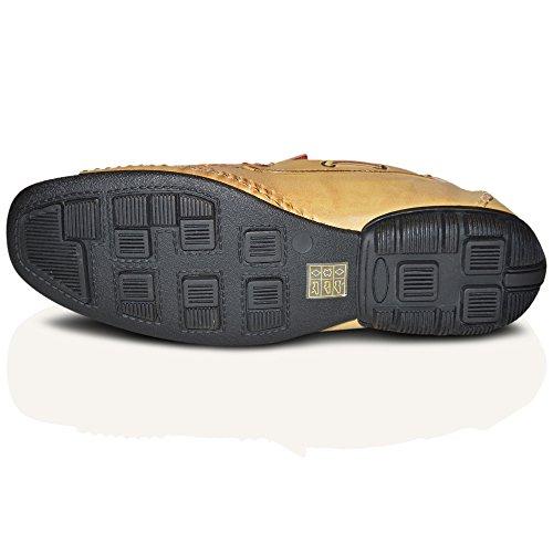 Macdonald Sporrans New Italian 100% cuir Line Loafer dérapant sur bateau Marron-crème