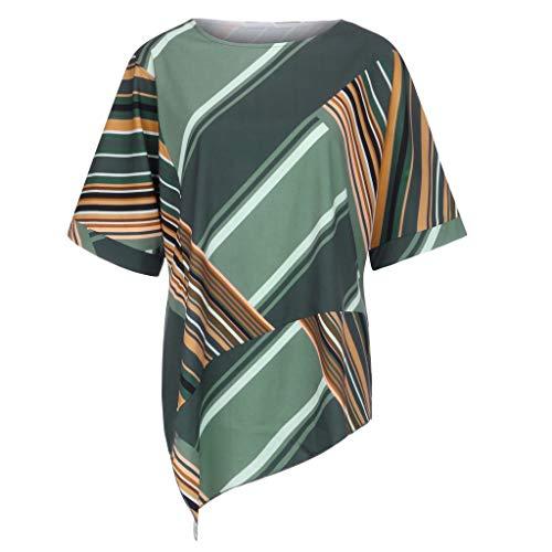BASACA T-Shirts Tops Femme Fille Étudiant Reine Printemps Été T-Shirts à Manches Courtes à Rayures Et à Rayures Tops Et Blouses Gilet Mode 2019 (Vert, 40)
