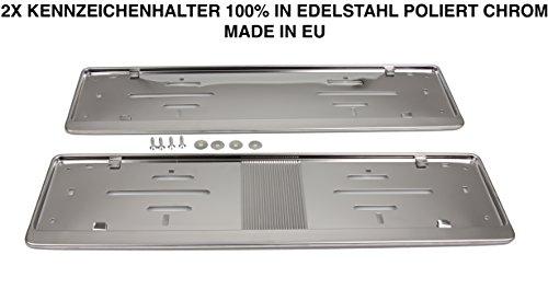 2x Top Nummernschildhalter Kennzeichenhalter 100% Edelstahl poliert Rostfrei -