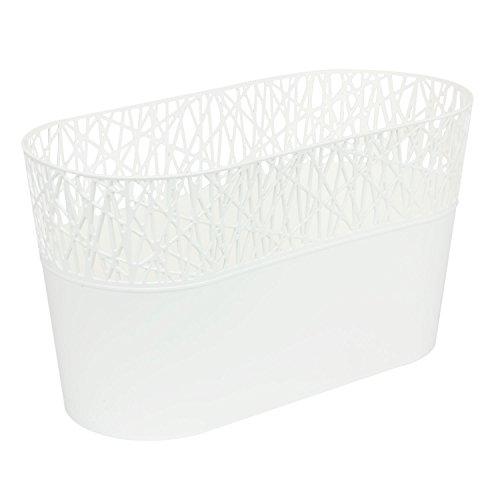 Ovale cache-pot CITY 28.5 cm en plastique romantique style, en blanc