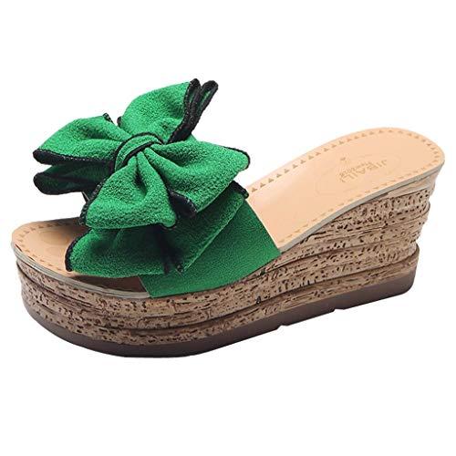 Mambain Pantofole Donna Eleganti Zeppa Ciabatte Donna con Plateau Fiocco Estive Fondo Spesso Fondo in Legno Leggere Antiscivolo Morbide Comode 2019 Sandali Sandaletti Sandalo da Case Mare Spiaggia