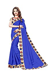 Bhuwal Fashion Womans CHANDERI silk KALAMKARI saree with Blouse (BLUE) (BLUE)