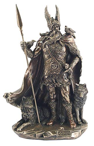 Studio Collection Estatua de Odin Neuve Resine latonado Figure mitología nórdica Dios de Guerra